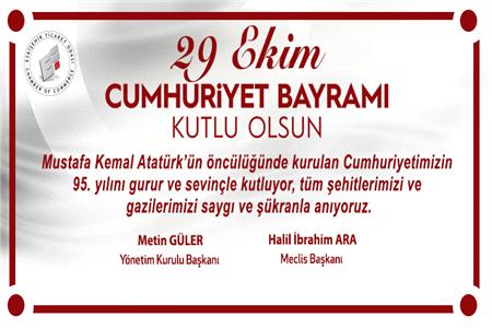 Cumhuriyetimizin 95'nci yıldönümünü gururla kutluyoruz